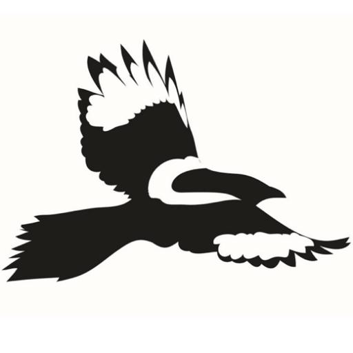 Motiv: Skade (fugl) fra Hjerneskadeforeningens logo alene på hvid baggrund