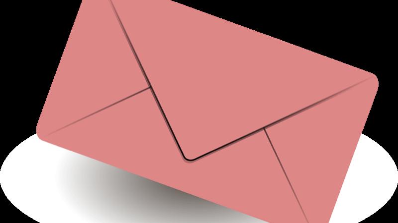Kontakt. Motiv: lyserød kuvert