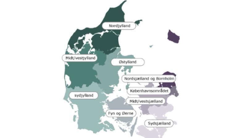 Lokalafdelinger. Motiv: Danmarkskort med opdelinger